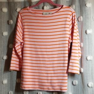 L.L. Bean Nautical Stripe Boatneck Top size 1x